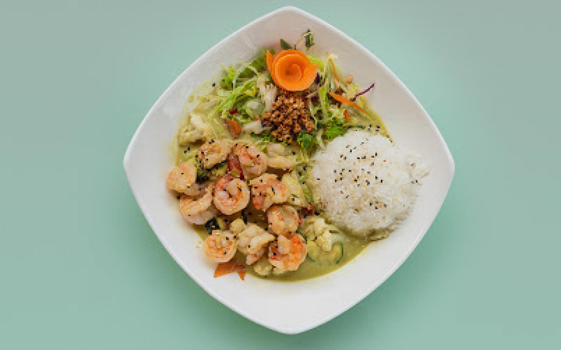 Green Curry Matcha with Shrimp